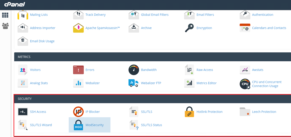 Disable Mod Security cPanel