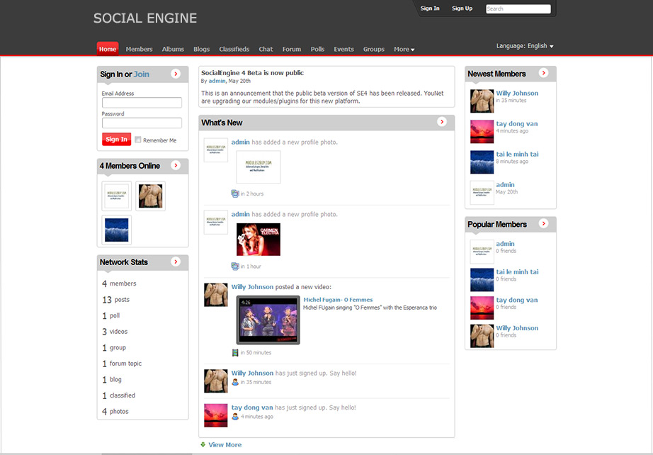 SocialEngine Screenshot