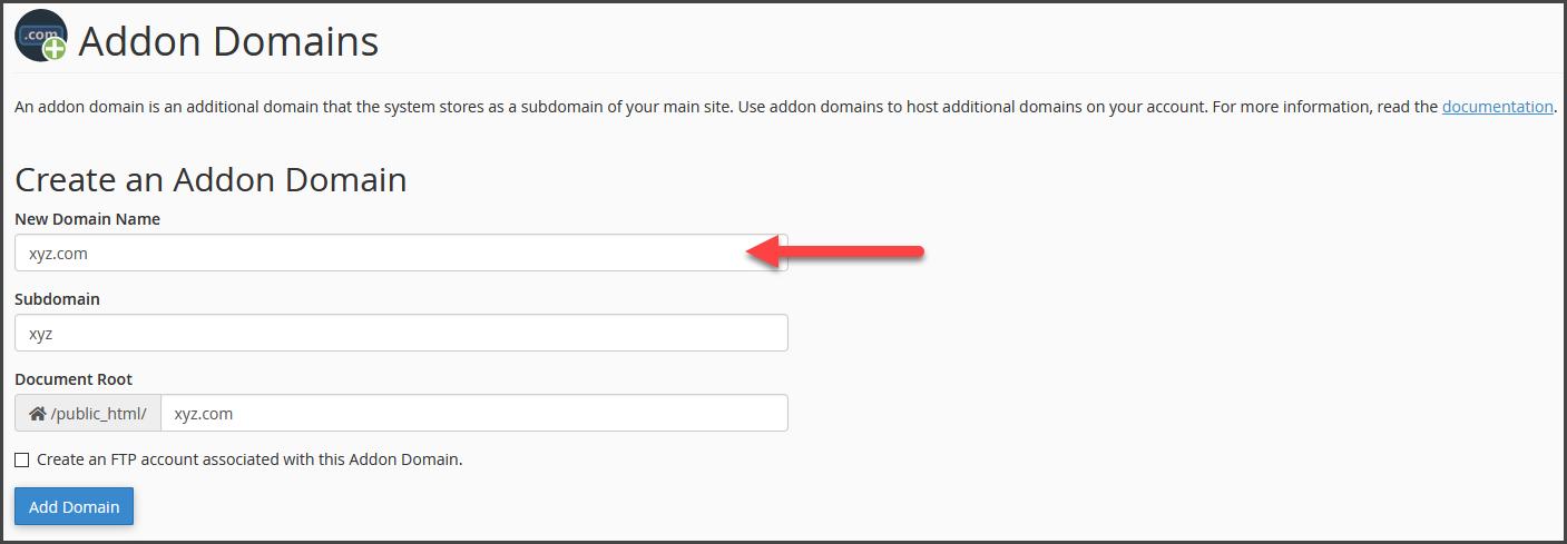 addon domain step 2