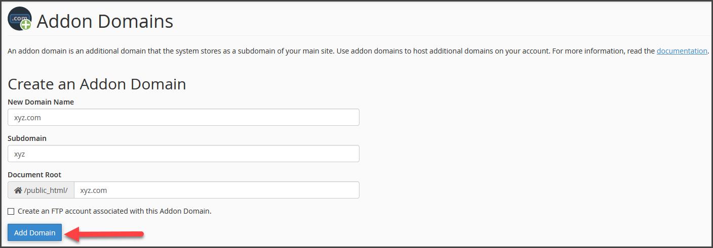 addon domain step 3