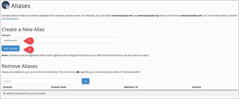 Create Alias Domain cPanel